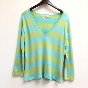 Michael Kors v-neck striped sweater size XL